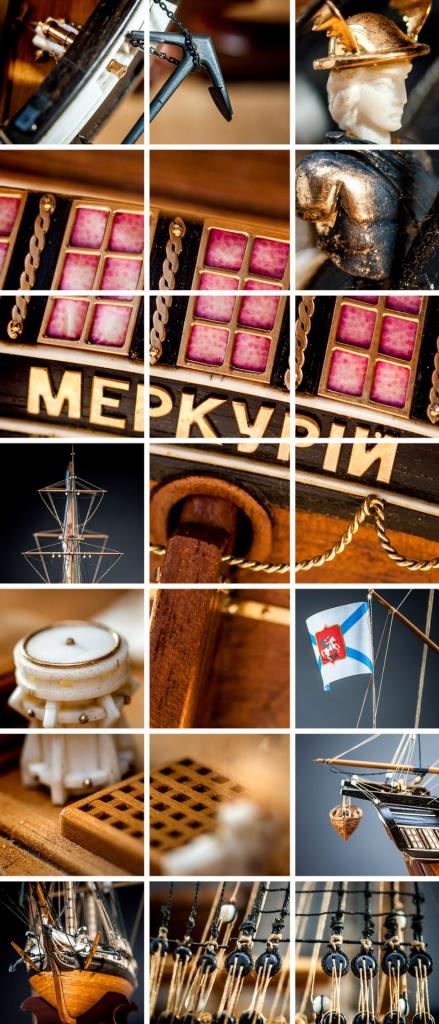 Collage aus mehreren Makroaufnahmen von einem Schiffsmodel von einem Segelschiff.