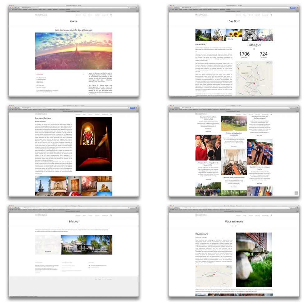 6 Screenshots von verschiedenen Teilen der Internetseite von dem Dorf Hiddingsel.