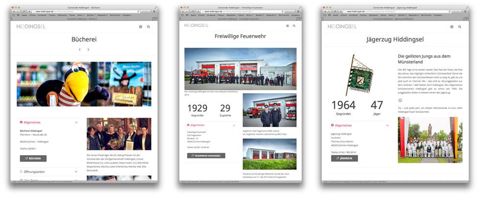 3 Screenshots von Online Visitenkarten von Vereinen aus Hiddingsel.