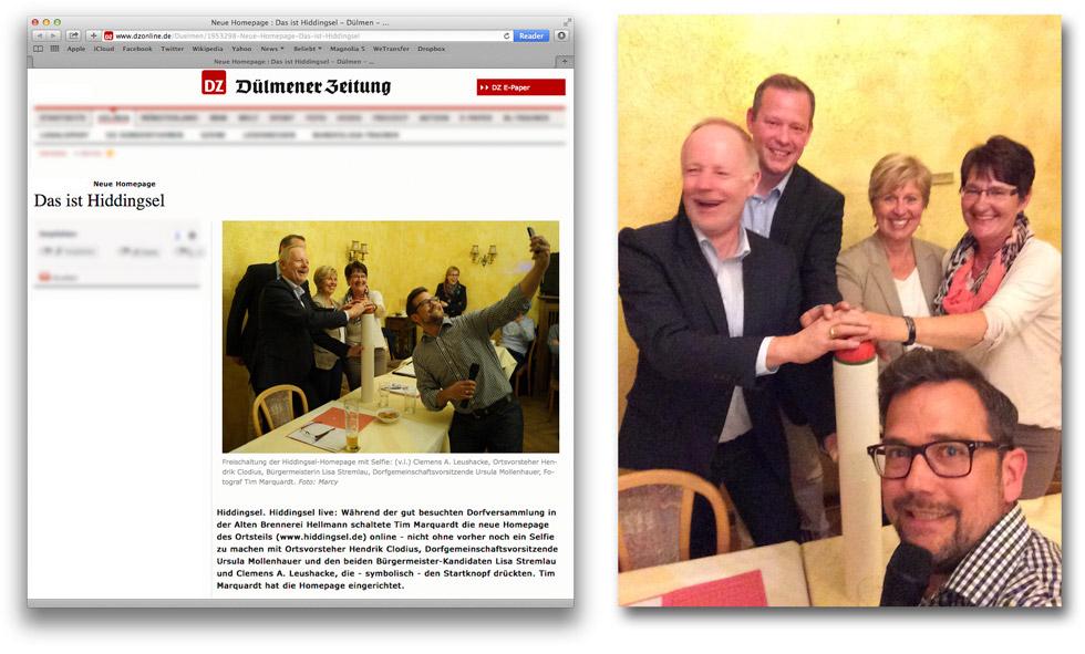 Ein Screenshot von einem Zeitungsartikel der Dülmener Zeitung und ein Gruppenselfie.