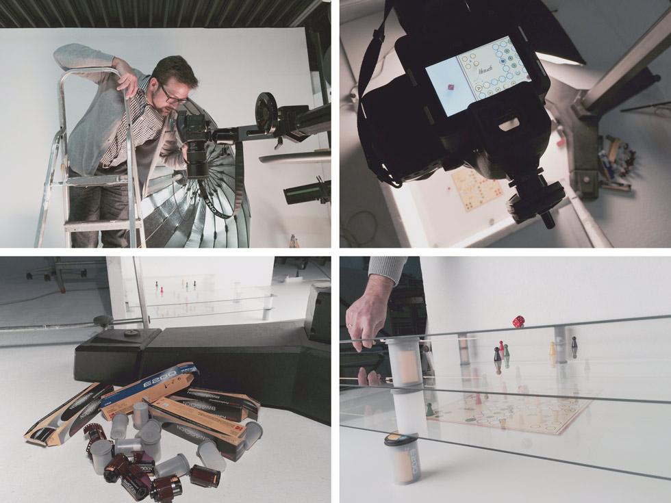 Collage aus 4 Bildern, die TIM MArquardt beim Fotografieren zeigen und Detailaufnahmen des Fotosets.