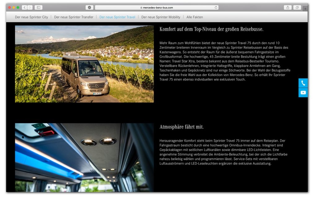 Fotos auf der Internetseite von Daimler