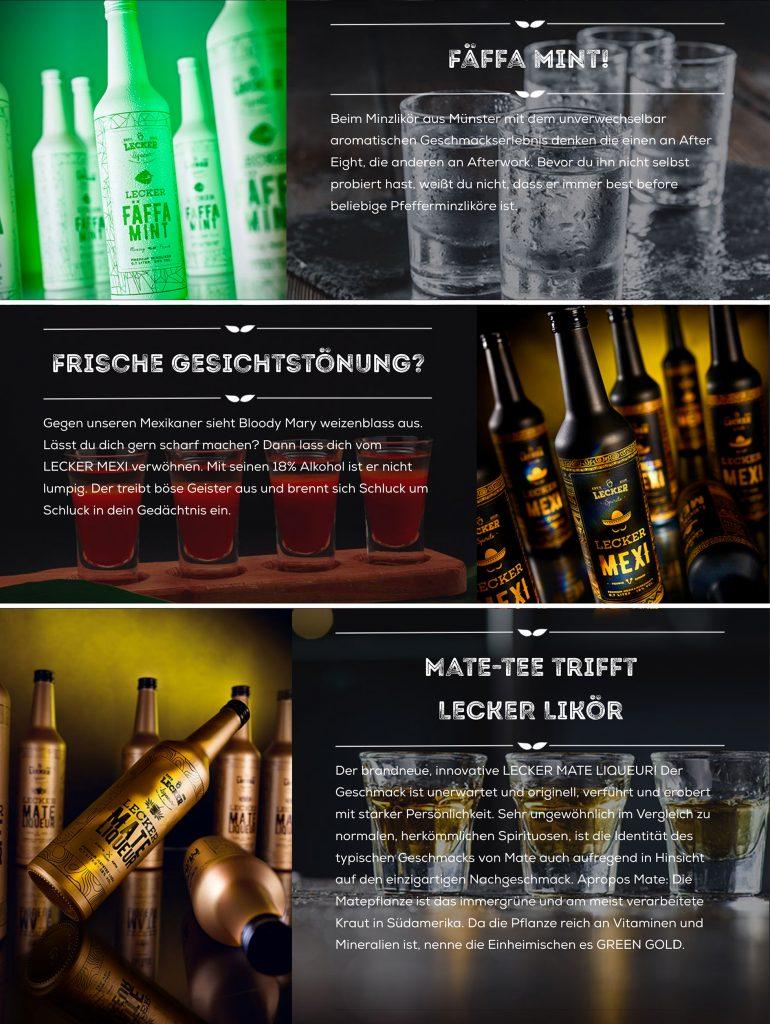 Werbeaufnahmen von Flaschen