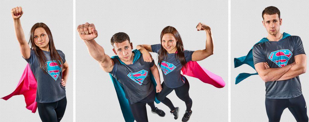 Personen als Superhelden verkleidet vor weißem Hintergrund