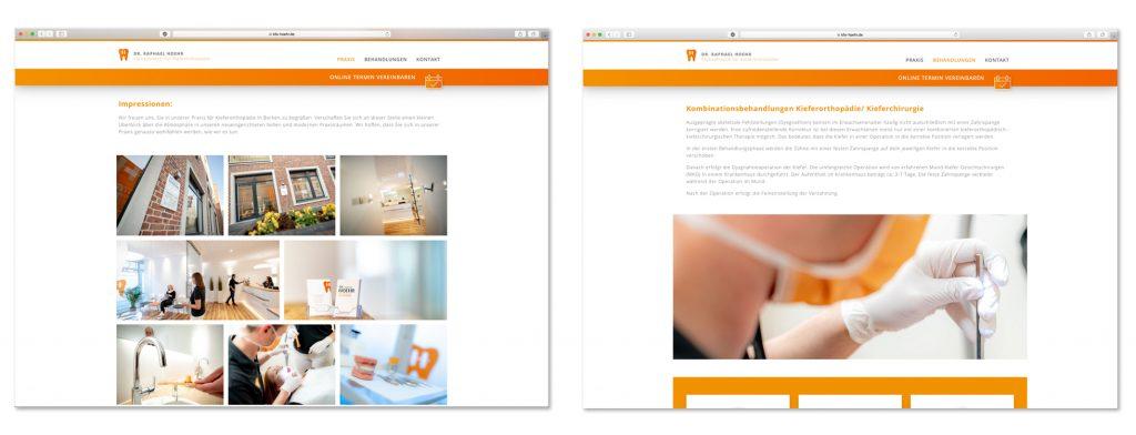 Detailaufnahmen auf der Internetseite